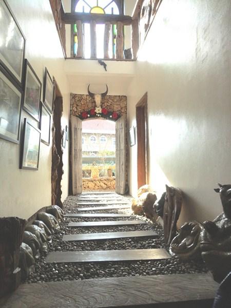 Art-lined hallway