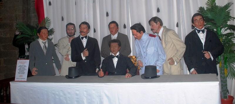 L-R - Mariano Trias, Trinidad Pardo de Tavera, Pedro Paterno, Gregorio Araneta, Baldomero Aguinaldo, Benito Legardo and Pablo Ocampo