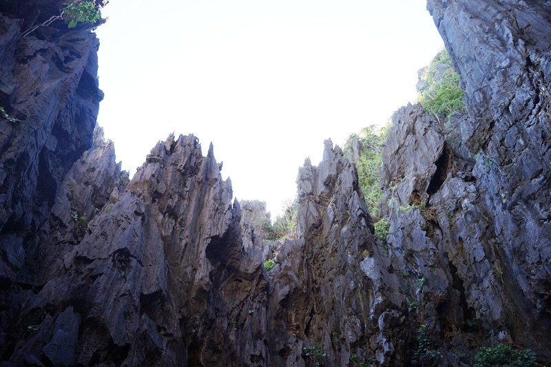 Limestone cliffs surrounding the Secret Lagoon