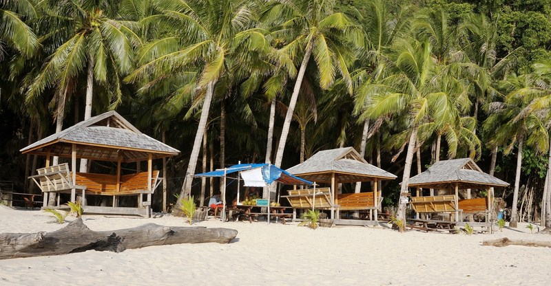 Picnic huts along the beach