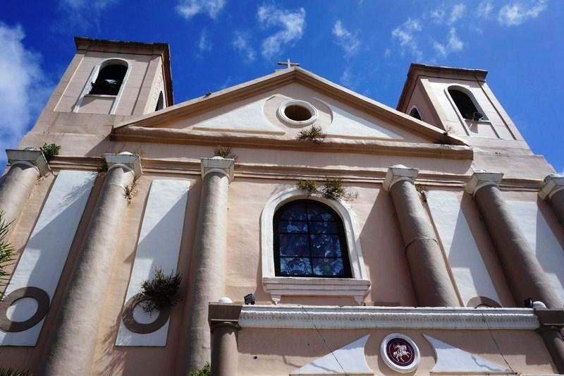 The church's Neo-Classical facade