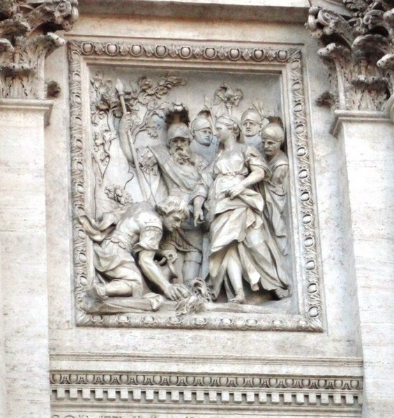 Bas-relief showing Agrippa, explaining his plan for the aqueduct to Augustus Caesar
