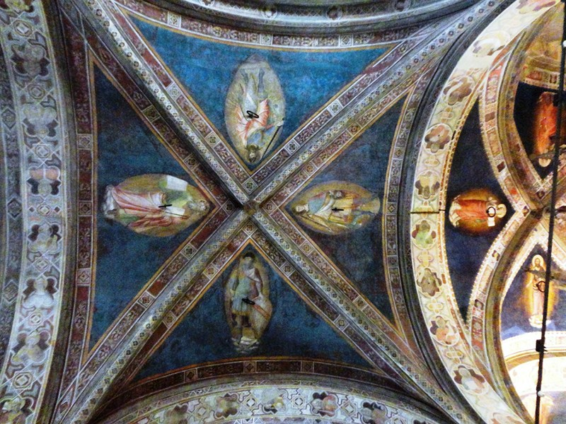 Fresco painting on ceiling by Jacopo dal Casentino
