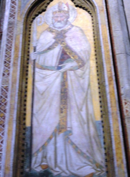 Frescoes of saints on the pillars by Jacopo dal Casentino