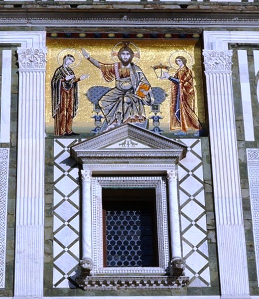 Mosaic of Christ enthroned between the Madonna and St. Miniato