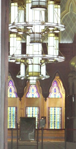 Chandelier and stained glass windows in the interior