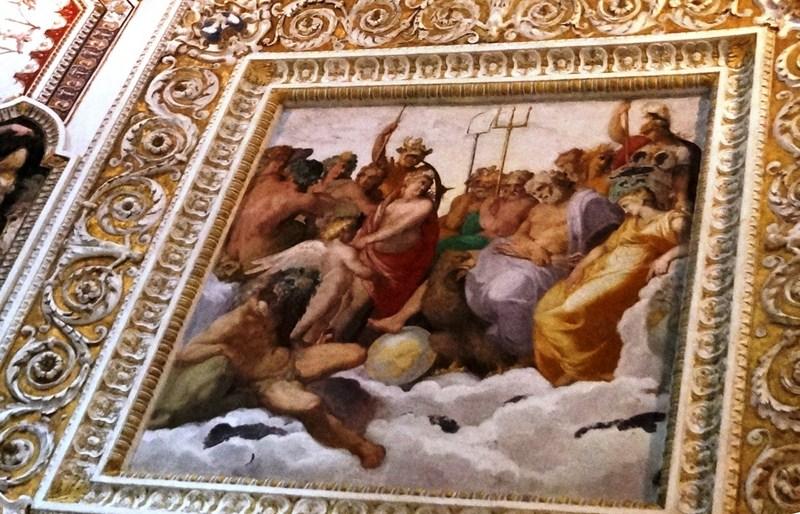 Ceiling fresco of Hercules welcomed to Olympus
