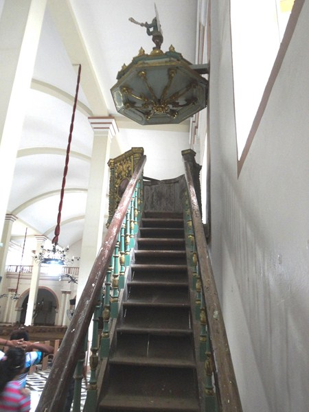 Stairway leading up to the pulpit.
